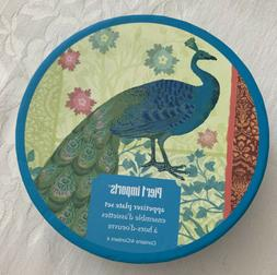 PIER 1 IMPORTS 4 APPETIZER COCKTAIL DISHES PLATES PEACOCKS T