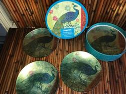 Pier 1 Imports 4 Appetizer Cocktail Dishes Plates Peacocks w