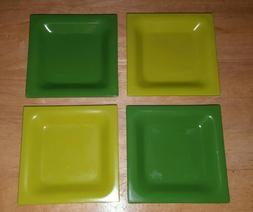 4 Zak Designs Appetizer GreenSquare Plates/Dishes Recycled-M