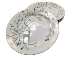 """4 Pottery Barn LUXE CARIBOU Plates 9"""" Salad Luncheon Appetiz"""