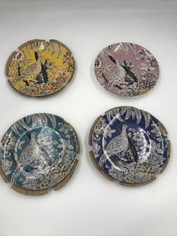 4 Stylish Tropical Toile Bird Appetizer Stoneware Plate Home