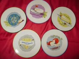 5 Bela Casa by GANZ Appetizer Plates with CHEESE  Motif 5 7/