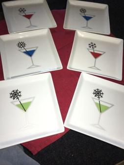 """6 Crate And Barrel Appetizer Plates """"Drink W Snowflake Swi"""