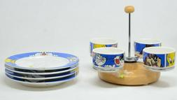 Antique 1995 Looney Tunes Appetizer Carousel with 4 Plates