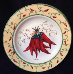 """CYPRESS HOME Appetizer Salad Dessert 8 1/4"""" Plates Red Peppe"""