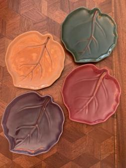 Pottery Barn Autumn Leaf Appetizer Plates - Green Rust Gold