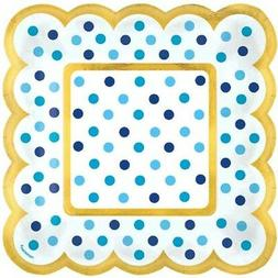 BLUE POLKA DOTS SMALL SCALLOPED APPETIZER PLATES  ~ Baby Par