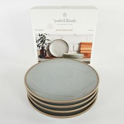 Blue Stoneware Reactive Exposed Rim Appetizer Plate Set of 4