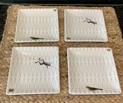 West Elm Brand Small Square Appetizer Plates Bird & Frog Can