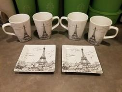 222 Fifth City Scapes Paris Eiffel Tower 4 Coffee Mugs 2 App