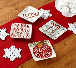 Pottery Barn Holiday Cheer Appetizer Plates, Mixed Set of 4