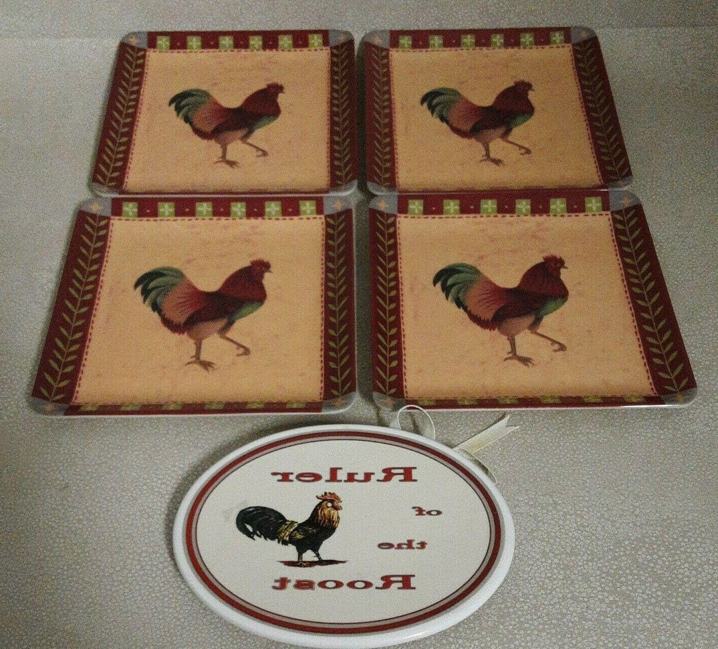 4 square melamine appetizer 6 rooster plates