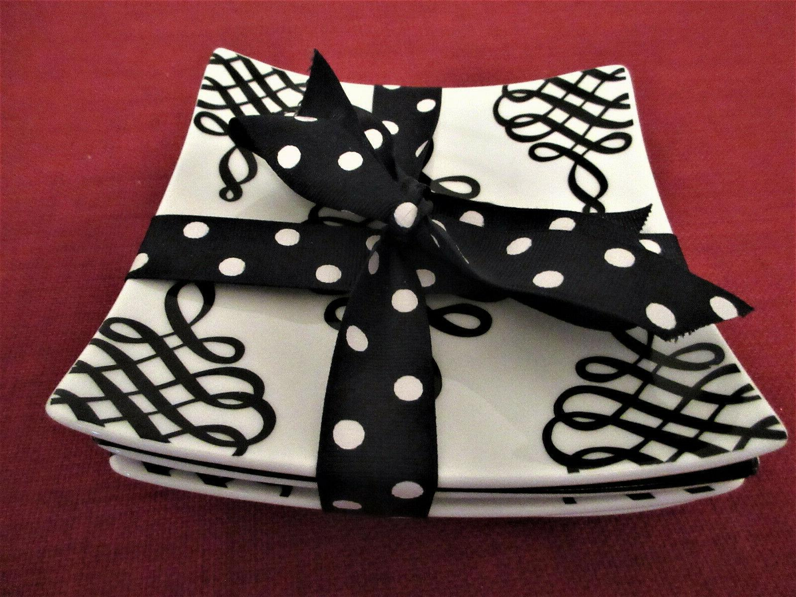 black and white square appetizer plates new