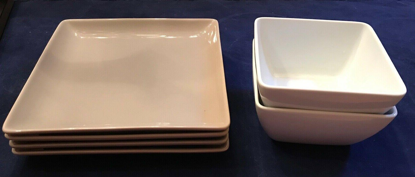 square 8 grey appetizer plates and 5