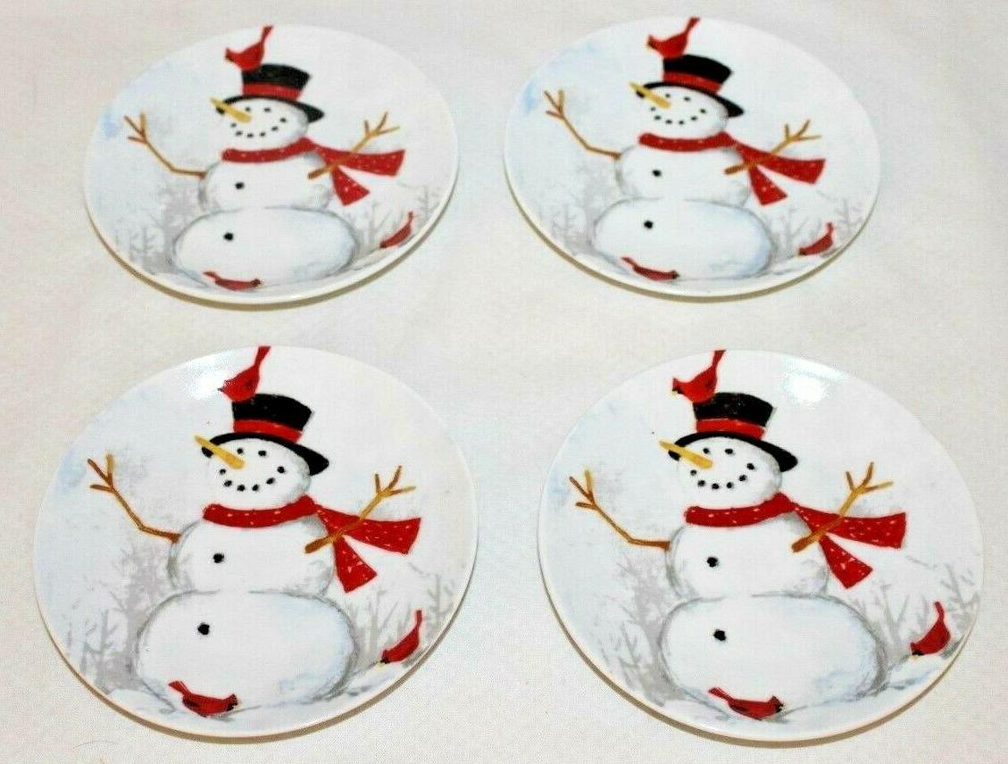 winter cheer snowman porcelain holiday appetizer plates
