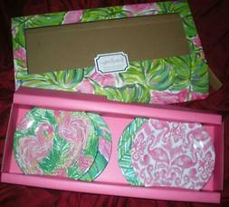 NEW LILLY PULITZER 4 APPETIZER PLATE SET FLAMINGO  FEATURED