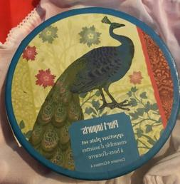 NEW Pier 1 Imports Appetizer Plates Set of 4 Peacock Pattern