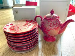New Pottery Barn Chinoise Teapot and 8 Appetizer Plates Red