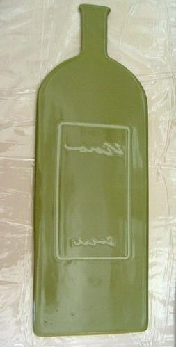 NEW TAG VINO GREEN MODERN APPETIZER DISH PLATE TRAY BOTTLE S