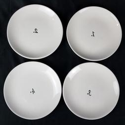"""RAE DUNN Numbers by Magenta 6"""" Appetizer Plates, Set of 4"""