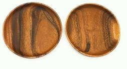 SDS Acacia Wood Plates Wooden Round Serving Tray Set of 2 Ro