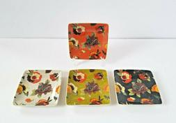 Set of 4 LORI SIEBERT Appetizer Snack Plates Colorful Floral
