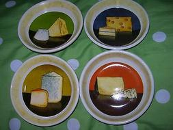 Set of 4 CHEESE APPETIZER SAUCE PLATES Oil Bread DIPPING BOW