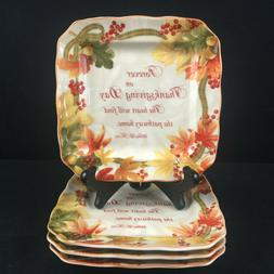 Set of 4 Square Appetizer Plates by 222 Fifth Autumn Celebra
