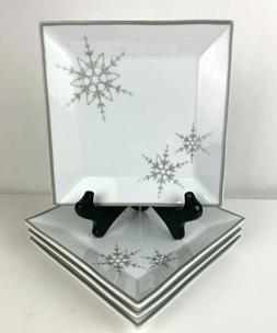 Set of 4 Square Appetizer Plates Silver Snowflake