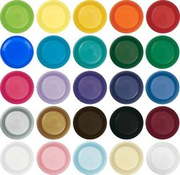 """Small 7"""" Plastic Disposable Plates -Vibrant Solid Colors App"""