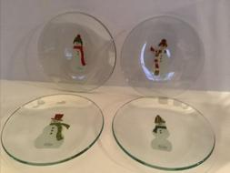 PAMPERED CHEF Snowmen Appetizer Plates  #3011  - New in Box