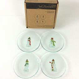 """PAMPERED CHEF Snowmen Clear Round Appetizer Plates 6"""" Set of"""