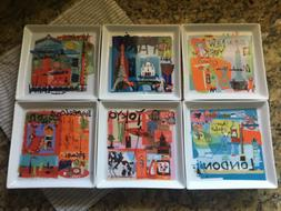 Crate and Barrel Square World Travel City Plates Appetizer