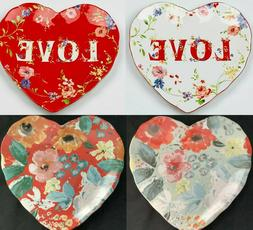 222 Fifth Valentine Love Heart Shaped Salad Appetizer Plates