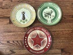 Pottery Barn Vintage Label Set Of 3 Cheese Appetizer Plates