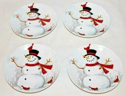 222 Fifth Winter Cheer Snowman Porcelain Holiday Appetizer P